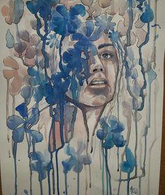 Into #texture figurative  Blue  Acquerello su carta  35x50 cm