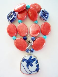Chunky Pottery Shard Necklace with Bold Coral Beads & Blue and White Porcelain