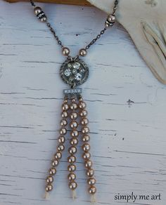 Vintage Rhinestone and Pearl One of a Kind by simplymeart on Etsy, $79.00