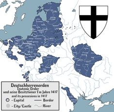 Order of Brothers of the German House of Saint Mary in Jerusalem in after ending the Polish-Lithunian-Teutonic war - imaginarymaps German Houses, Imaginary Maps, Templer, Alternate History, Family Genealogy, Crusaders, 3d Modeling, Historical Maps, Jerusalem