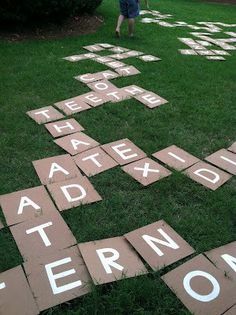 DIY Outdoor Scrabble or Bananagrams tiles. Take thin board, paint pens, or stencils and spray paint (with an adult's help) and turn a word game into an outdoor fun game! - This would be great for a literacy activities day. Outdoor Summer Activities, Outdoor Fun, Fun Activities, Outdoor Twister, Outdoor Learning, Outdoor Toys, Outdoor Parties, Teen Summer Activities, Outdoor Games For Teenagers