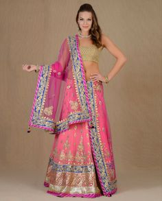 Exclusively.In  Neon Pink Lengha Set with Floral Gota Motif