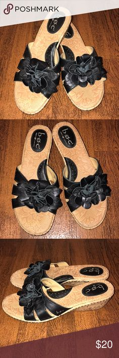b.o.c. Black Floral Wedge Sandals Size 8 b.o.c. Black Floral Wedge Sandals Size 8. Leather upper. EUC! Wedge height approx 1.75 inches. b.o.c. Shoes Sandals