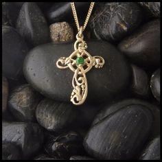 A sweet feminine ivy Celtic cross in Gold.