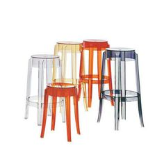 Fab.com | Charles Ghost Counter Stool Crys - Inspired by classic European furniture from the 1800s, this sturdy Charles Ghost Stool has rounded, slightly upturned legs and a thick top. Created by Philippe Starck for Kartell in 2005, the accent is made from a single block of batch-dyed polycarbonate and is virtually indestructible.