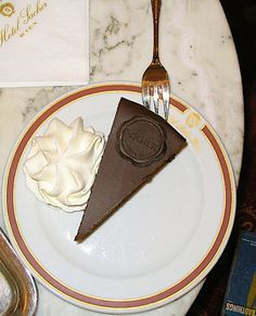 Sacher Torte at the Sacher Hotel in Vienna, Austria.
