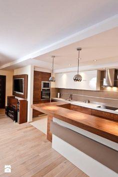 Kuchnia - Styl Nowoczesny - All Design Agnieszka Lorenc Condo Kitchen, Modern Kitchen Cabinets, Wooden Kitchen, Kitchen And Bath, Kitchen Remodel, Apartment Interior, Room Interior, Kitchen Interior Inspiration, Brooklyn Kitchen