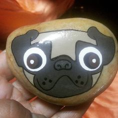 #pug Rock Painting Patterns, Rock Painting Ideas Easy, Painting For Kids, Pebble Painting, Pebble Art, Stone Painting, Painted Rock Animals, Hand Painted Rocks, Painted Stones