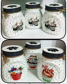 23 Clever DIY Christmas Decoration Ideas By Crafty Panda Wine Bottle Art, Diy Bottle, Wine Bottle Crafts, Mason Jar Crafts, Mason Jars, Decoupage Jars, Diy Shadow Box, Shabby Chic Crafts, Painted Jars