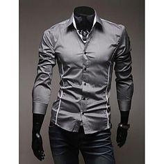 Casual Camiseta de manga larga delgado Individual Edge Masculina – USD $ 18.89