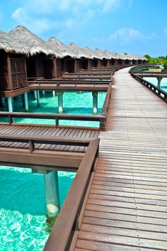 Overwater bungalows at the Sheraton Full Moon Resort Maldives
