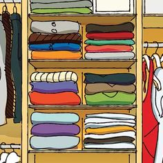 Avoid jumbled piles of folded clothes by limiting closet shelf stacks to a height of 10 inches and partitioning them with thin bookends, like Highsmith's steel versions. About $9 each; highsmith.com | Illustration: Arthur Mount | thisoldhouse.com