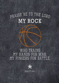 The ROCK - Basketball - Psalm 144:1 Chalkboard Printable - Customizable - 5x7 printable - Instant Download