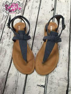 These super cute, denim-look thong sandals will be so perfect with all your Summer outfits! Wear with dresses, skirts, shorts, capris, leggings...everything! Adjustable side buckle. Non-skid sole. All