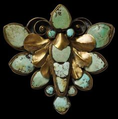 Gilded Silver Butterfly Hair Ornament set with Turquoise, Nepal, 18th-19th century