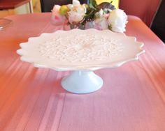 Vintage Fenton Milk Glass Spanish Lace Cake Stand - Mid Century by HouseofLucien, $95.00