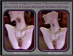 wine jewelry wine lovers giftswine grapes by RosesWireArtJewelrY, $28.00