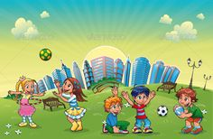Boys and girls are playing in the park. — Vector EPS #landscape #soccer • Available here → https://graphicriver.net/item/boys-and-girls-are-playing-in-the-park/151437?ref=pxcr