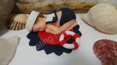 Fondant  Nautical Baby cake topper.  Baby Cake by anafeke2 on Etsy