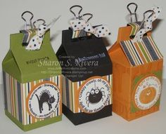 Stampin Up demonstrator/she cut manually http://www.artfulavocations.com/artful_avocations/2009/09/mini-halloween-milk-carton-treats.html