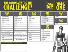Almost Challenge Time BodyRockers! Here is your Week 1 Calendar. PDF version will be delivered with your first workout! Health Challenge, 30 Day Challenge, Workout Challenge, Body Rock Workout, Lose Weight While Pregnant, Body Rock Tv, Fat Burning Diet, Workout Schedule, High Intensity Interval Training