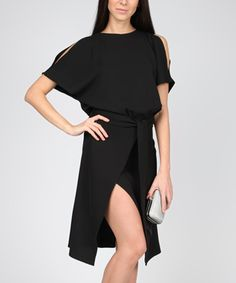 b21bc4bc5515 Loving this Carla by Rozarancio Black Cutout Wrap Dress on  zulily!   zulilyfinds Wrap