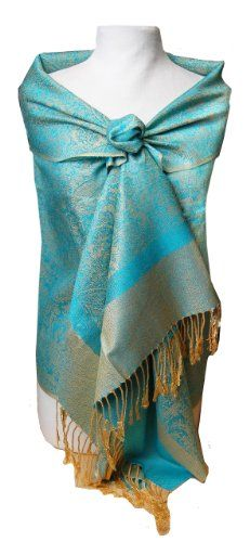 Jacquard Paisley Turquoise and Gold Tone Pashmina Shawl Wrap Peach Couture,http://www.amazon.com/dp/B005UPOACE/ref=cm_sw_r_pi_dp_BNWbsb0AX9BBGHXK