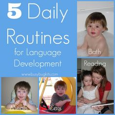 BusyBug Kits: How to use Daily Routines for Language Development. Pinned by SOS Inc. Resources. Follow all our boards at pinterest.com/sostherapy for therapy resources.