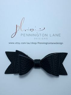 Black Leather Hairbow on Alligator Clip Hairbows, Black Leather, Trending Outfits, Handmade, Etsy, Hand Made, Hair Accessory, Hair Bows, Handarbeit