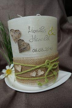Hochzeitskerze Hochzeit traditionell Bauernhochzeit Birkenherzen Juteband grün