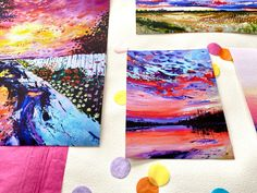 """For My Sunshine"" is a fine art print bundle from Canadian artist Carly Gordon featuring four colourful landscapes. #homedecor #wallart #artist #artprint #landscape #painting #oilpainting Art Prints, Fine Art, Canadian Artists, Wall Art, Painting, Oil Painting, Cloud Painting, Art, Color"