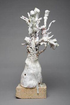"""Flower Brick 3  Clay, steel, low-fire glazes, glass, brick  21"""" H x 11"""" W  2008"""