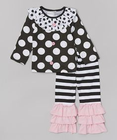 Loving this Black & Pink Polka Dot Tee & Pants - Infant, Toddler & Girls on #zulily! #zulilyfinds
