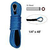 #10: Synthetic Winch Rope  1/4 x 48 Winch Cable Blue Winch Rope 7000 LBs with Sheath for atvs Winches ATV UTV SUV Truck Boat Ramsey Synthetic Winch Rope