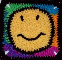 Smiley Face Square | AllFreeCrochetAfghanPatterns.com