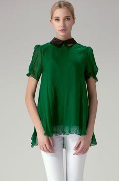 Green Contrast Collar Short Sleeve Zipper Chiffon Blouse