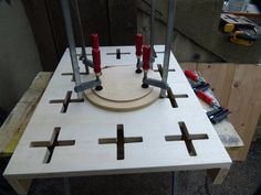 "Clamping Table by reible -- Homemade portable clamping table constructed from 3/4"" plywood. http://www.homemadetools.net/homemade-clamping-table-5"