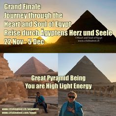 3.12.19 | Die Grosse Pyramide Das Grand Finale der Reise ist die private Visitation in der Königskammer.  Das energetische High Light!  The Grand Finale of our journey is the private visitation within the Kings Chamber. The energetic High Light! Great Pyramid Of Giza, Us Sailing, Pyramids Of Giza, Egypt, Spirituality, Journey, Heart, Day, Ancient Egypt
