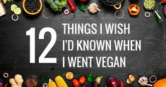 Image showing overhead view of vegetables with text saying twelve things I wish I'd known when I went vegan