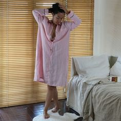 As part of the collection of luxurious vintage style natural linen lingerie, this nightdress is soft and light and loose to let the user move freely while asleep. The buttons front shirt style linen n