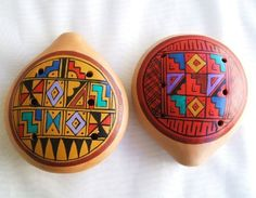 Two Large Peruvian Ocarina. Musical Instrument.gold and Siam. by Gifts and Beads. $12.95. Beautiful handmade Peruvian Ocarinas. You will get two Large 4 inches Ocarinas. All Handmade in Peru. Dating from the time of the Incas, used as instruments for festivals, rituals and ceremonies. The Ocarina whistle originated in the Andes Mountain in Peru. It's know as the most primitive for of flute found in the Americas. Made with clay and hand painted with ancient symbols and designs ...