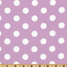 Forever Large Polka Dot Lilac from @fabricdotcom  This cotton blend 3/4'' polka dot fabric is perfect for everything from apparel such as dresses, shirts and skirts to quilting or home décor window treatments, dust ruffles, toss pillows and more! Colors include light purple and white.