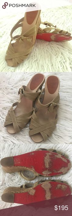 """Christian Louboutin Espadrilles Authentic. Gorgeous shimmery metallic color. Gold-tone metallic grosgrain Christian Louboutin espadrille slide sandals with bow accent at side and woven jute covered wedges. These run a size small.  Heels: 3.25"""" Excellent used condition. Christian Louboutin Shoes"""