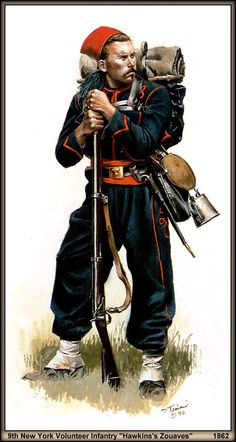 Don Troani Painting of a Hawkins Zouaves, 9th New York Volunteer Infantry