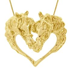 HorseTackCo.com ~ Products ~ 2 Driving Horse Head Heart Necklace Gold Plated ~ Shopify
