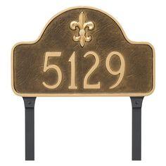 Montague Metal Fleur de Lis Lexington Arch Estate Address Sign Lawn Plaque - PCS-0061E1-L-WG