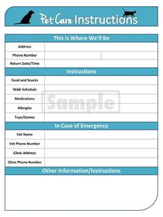 Pet Care Instructions - Pet Sitter Printable and Editable PDF