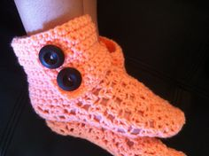 Crochet Adult Booties (you pick the color!) by BrushBunch on Etsy