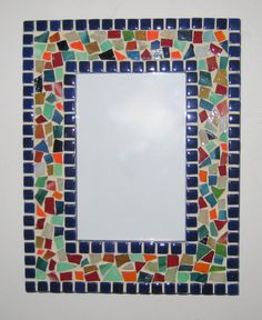 Royal Blue Border with Multi-colors Frame - Mosaic Garden Art, Mosaic Tile Art, Mirror Mosaic, Mosaics, Stained Glass Birds, Stained Glass Panels, Mosaic Art Projects, Glass Paperweights, Glass Art
