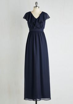 Always on the Movement Dress. The captivating sway of this elegant navy maxi boasts effortless on-the-go glam! #blue #prom #wedding #bridesmaid #modcloth